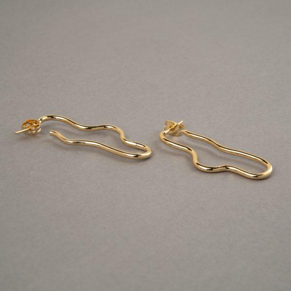Ánguila - aretes de plata 925 con baño de oro de 18k