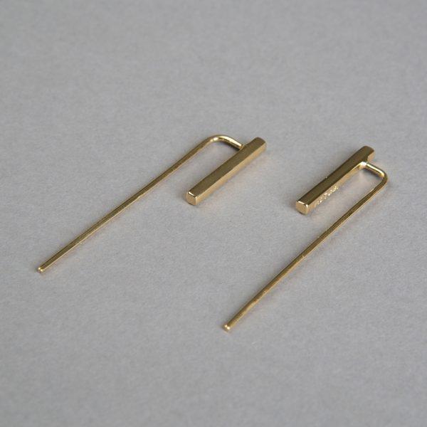 Cometa - aretes de plata 925 con baño de oro de 18k