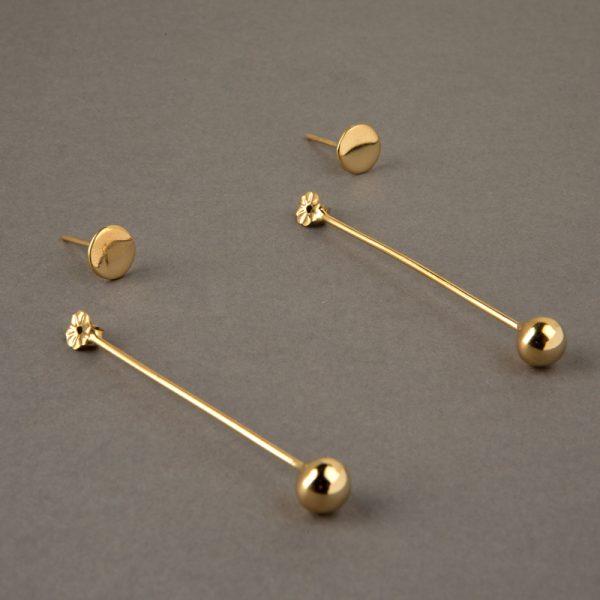 Estrella Fugaz - aretes de plata 925 con baño de oro de 18k