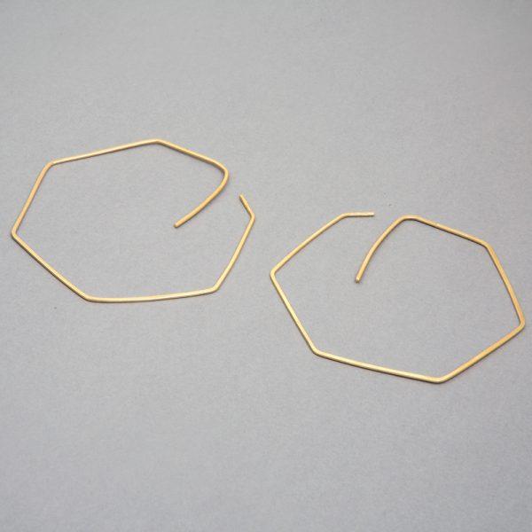 Hexágono - aretes de plata 925 con baño de oro de 18k