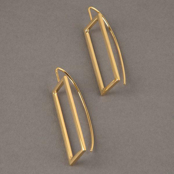 Rectángulo oro - aretes de plata 925 con baño de oro de 18k