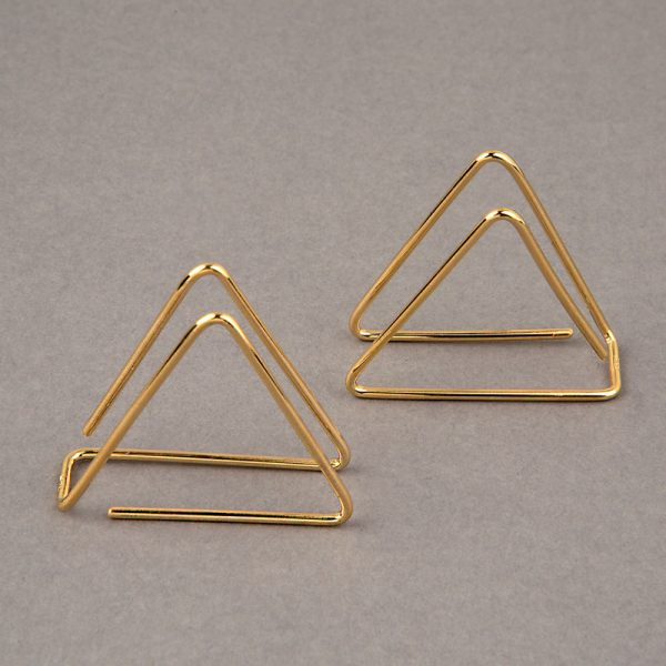 Triángulo 3D - aretes de plata 925 con baño de oro de 18k