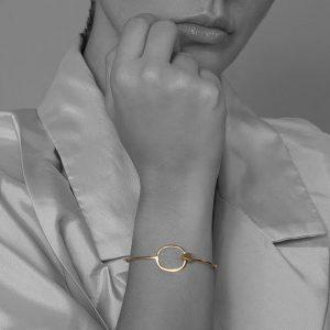 brazalete plata 925 y baño de oro de 18k, elaborado a mano